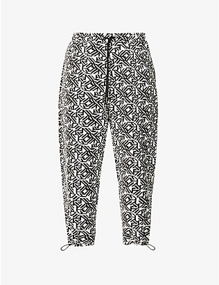 MKI MIYUKI-ZOKU: Geometric tapestry wide cotton-blend trousers