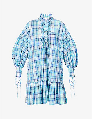 MSGM: Abito checked cotton mini dress