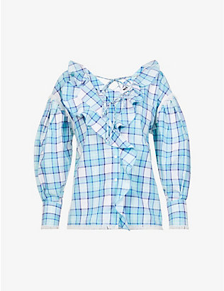 MSGM: Blusa checked cotton-poplin blouse