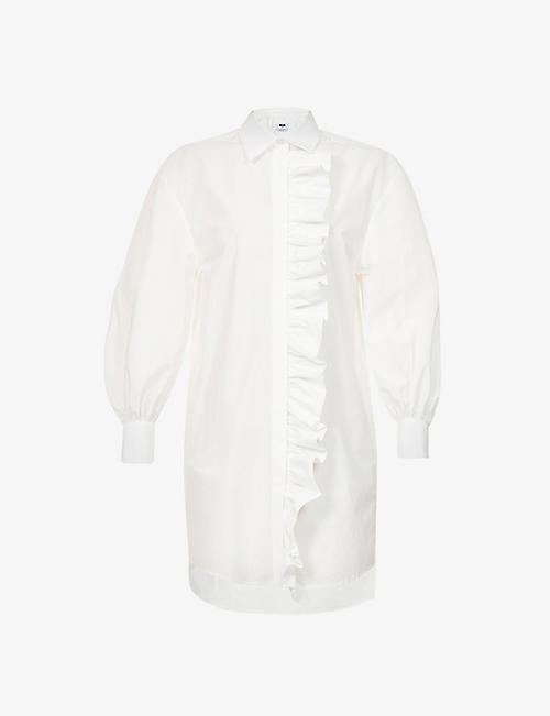 MSGM: Ruffle-trim cotton-poplin shirt dress