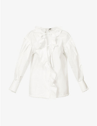 MSGM: Ruffled puff-sleeved cotton-poplin blouse