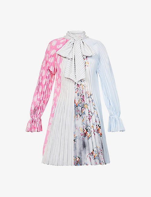 MSGM: Stripe and floral-print woven-pleated mini dress
