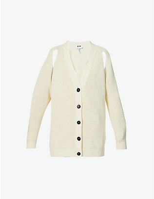 MSGM: Maglia cut-out cotton-knit cardigan