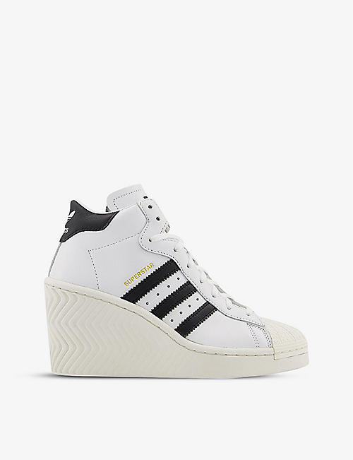 ADIDAS: Superstar Ellure leather wedge trainers