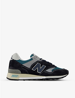 NEW BALANCE: M577 panelled logo-embroidered suede trainers