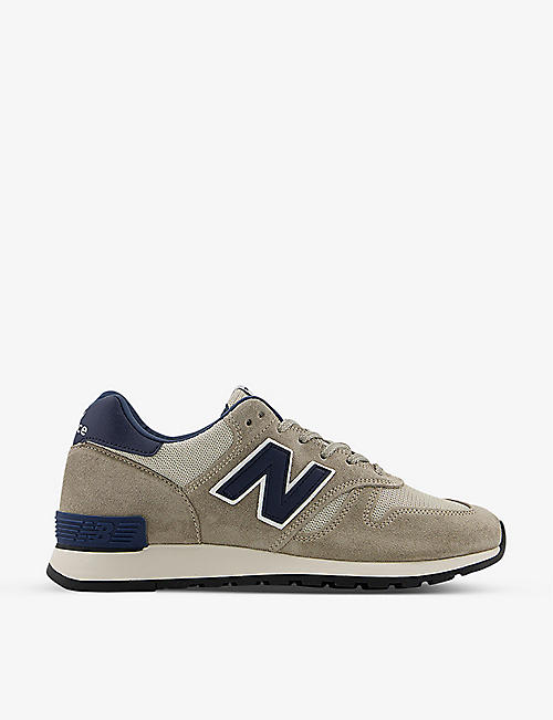 NEW BALANCE: M670 branded suede and mesh trainers