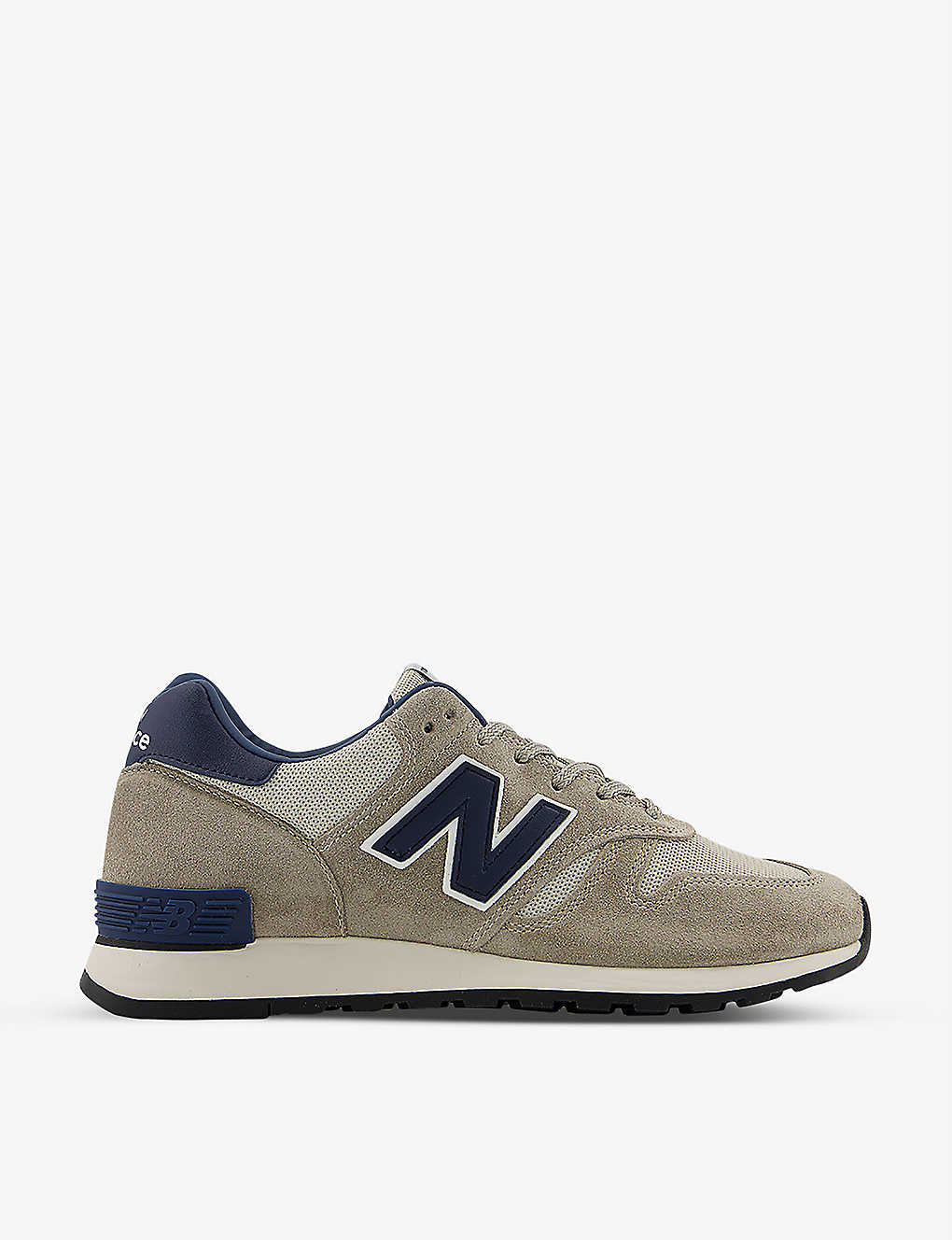M670 branded suede and mesh trainers