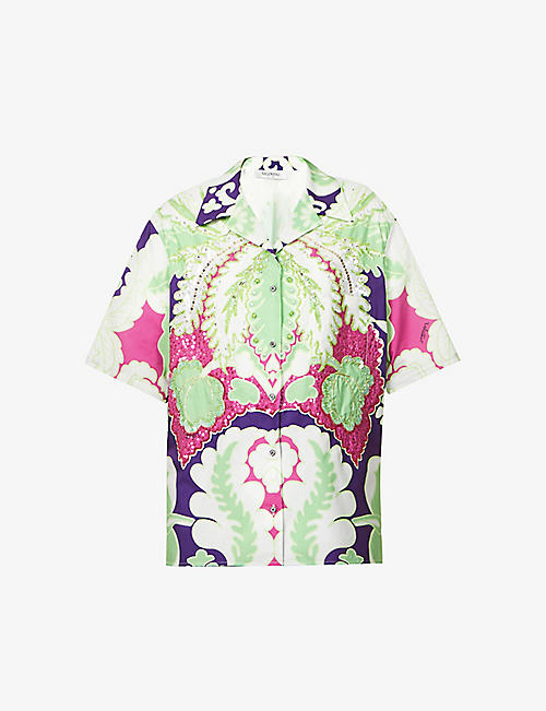 VALENTINO: Floral-print sequin-embellished cotton-poplin shirt