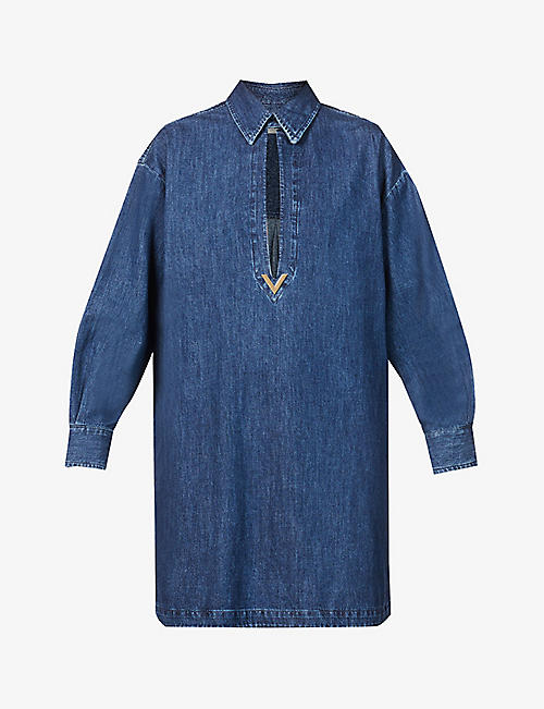 VALENTINO: Puff-sleeve embellished denim shirt