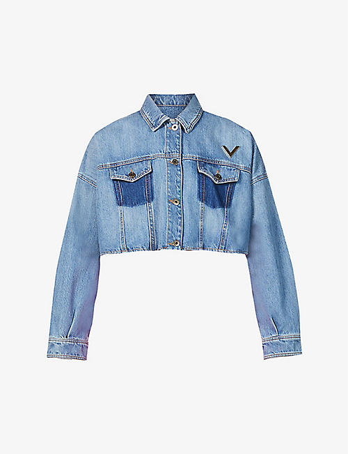 VALENTINO: Branded faded cropped denim jacket