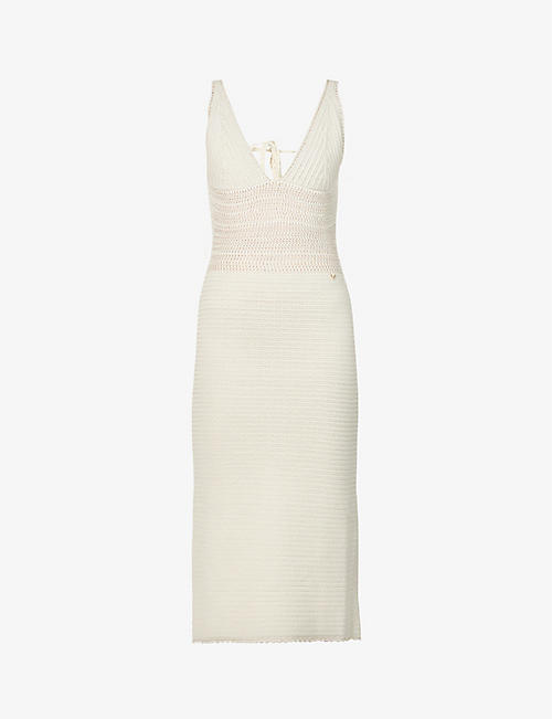 VALENTINO: V-neck cotton-knit midi dress