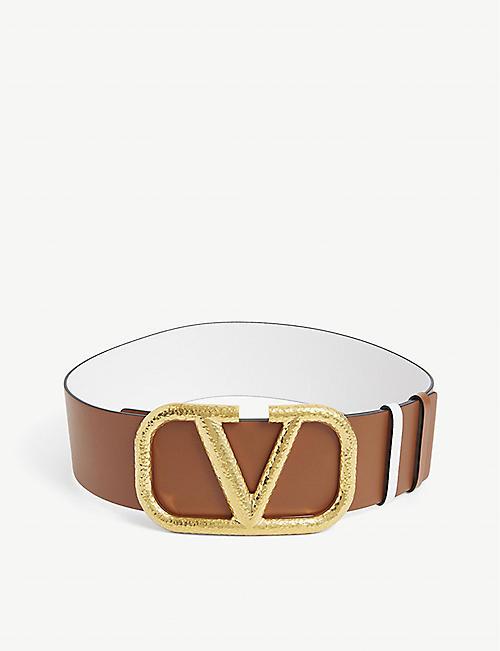 VALENTINO: V-logo wide leather belt