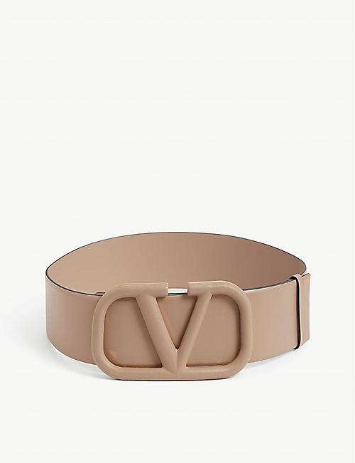 VALENTINO: V-ring branded reversible leather belt