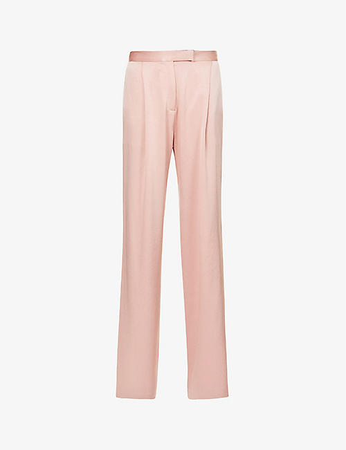ALEX PERRY: Hartley flared high-rise satin trousers