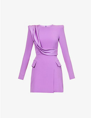 ALEX PERRY: Rae contrast-panel crepe mini dress