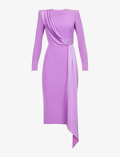 ALEX PERRY: Arden contrast-panel crepe midi dress