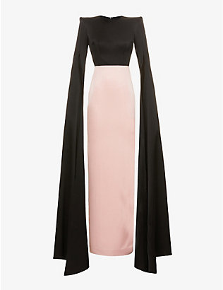 ALEX PERRY: Julian cape-sleeve colour-block satin gown
