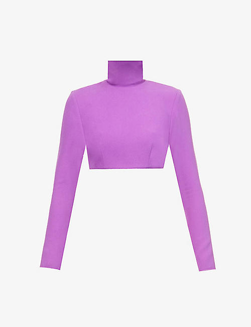 ALEX PERRY: Cruz funnel-neck crepe cropped top