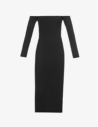 ALEX PERRY: Tate off-the-shoulder crepe midi dress