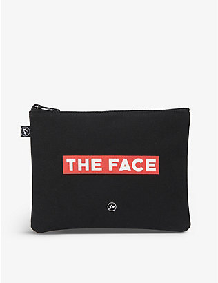 THE FACE X FRAGMENT DESIGN: The Face x Fragment branded cotton pouch