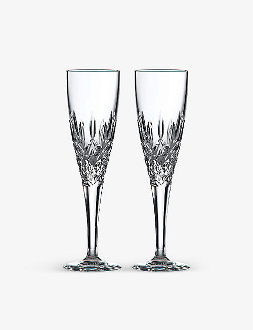 ROYAL DOULTON: Highclere crystal flutes set of four