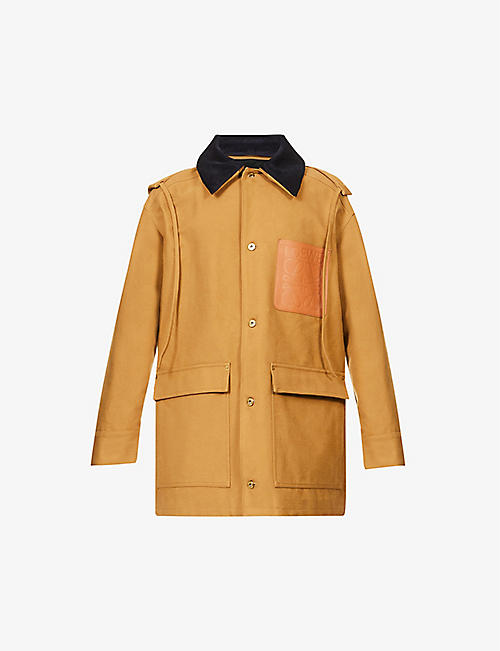 LOEWE: Contrast-collar oversized cotton-blend hooded coat