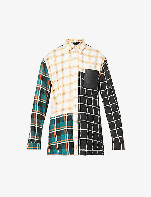 LOEWE: Checked patch-pocket modal-blend shirt