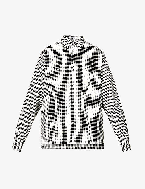 LOEWE: Checked oversized cotton-, linen- and ramie-blend shirt