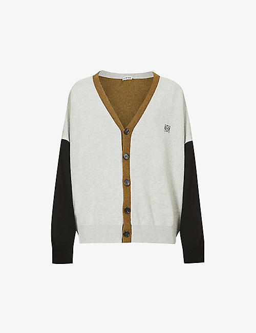 LOEWE: Colour-blocked oversized wool cardigan