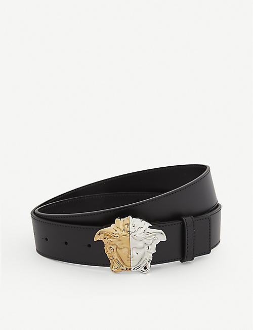 VERSACE: Palazzo Demi Medusa-buckle leather belt
