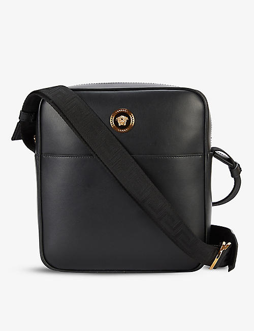 VERSACE: Medusa Head leather messenger bag