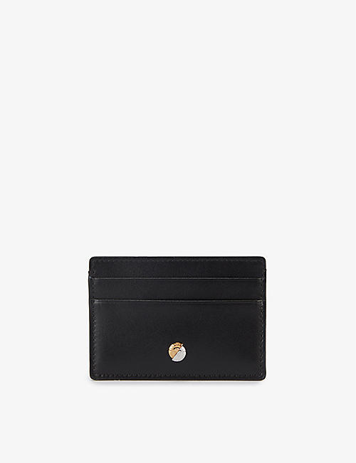 VERSACE: Logo-plate leather cardholder