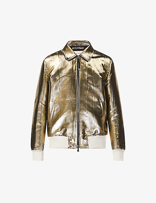 ALEXANDER MCQUEEN: Collared metallic cotton-silk blend jacket