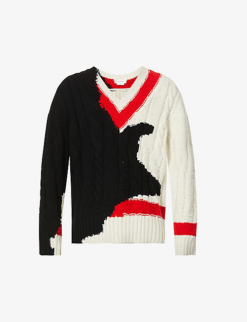 ALEXANDER MCQUEEN: Colour-blocked dropped-shoulder wool jumper