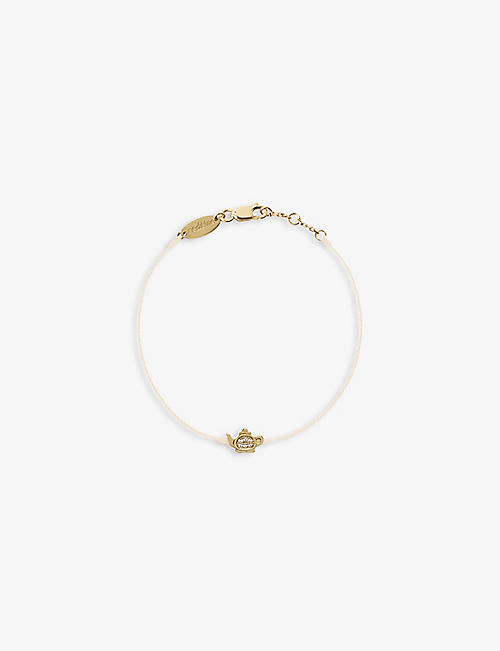 THE ALKEMISTRY: Redline 18ct yellow-gold, silk-thread and 0.05ct diamond bracelet