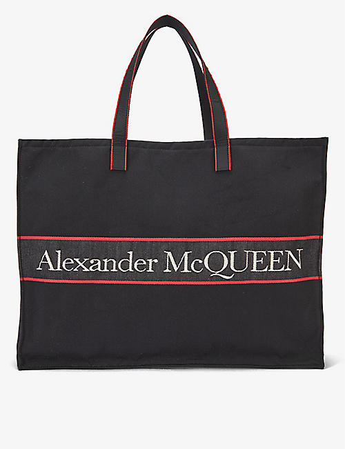 ALEXANDER MCQUEEN: Brand-embroidered canvas tote bag
