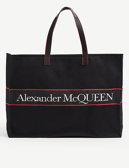 ALEXANDER MCQUEEN: Logo-tape cotton tote bag
