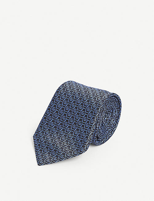 GUCCI: Logo-embroidered silk tie