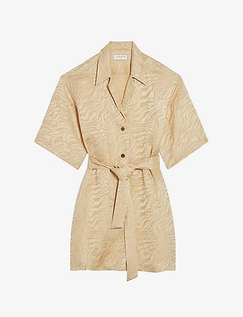 SANDRO: Aimee belted woven shirt mini dress