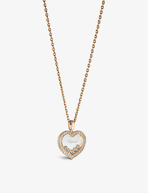 CHOPARD: Happy Diamonds 18ct rose-gold and 0.73ct brilliant-cut diamond necklace