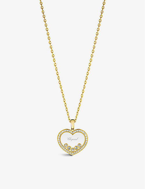 CHOPARD: Happy Diamonds 18ct yellow-gold and 0.73ct diamond pendant necklace
