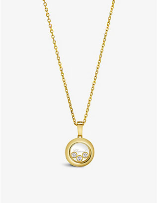 CHOPARD: Happy Diamonds 18ct yellow-gold and 0.15ct diamond pendant necklace