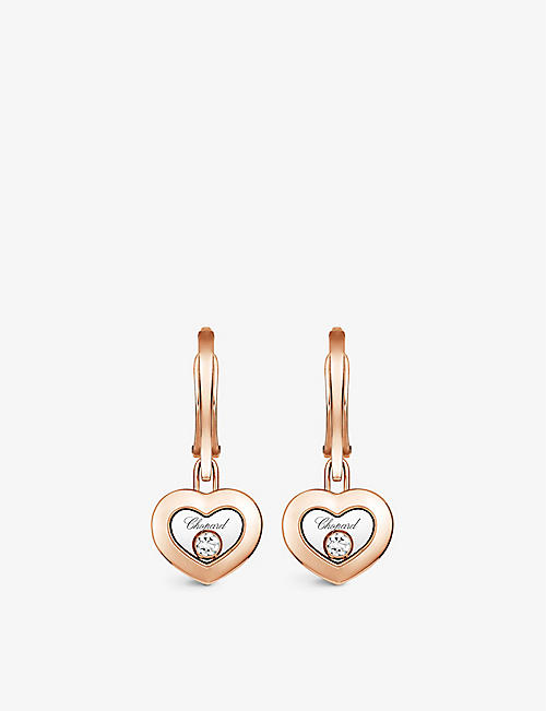 CHOPARD: Happy Diamonds 18ct rose-gold and 0.10ct diamond earrings