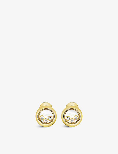 CHOPARD: Happy Diamonds 18ct yellow-gold and 0.30ct diamond earrings
