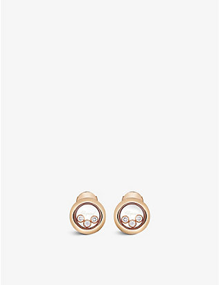 CHOPARD: Happy Diamonds 18ct rose-gold and 0.30ct diamond earrings