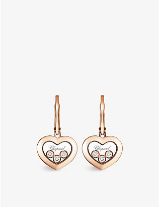 CHOPARD: Happy Diamonds 18ct rose-gold and diamond earrings