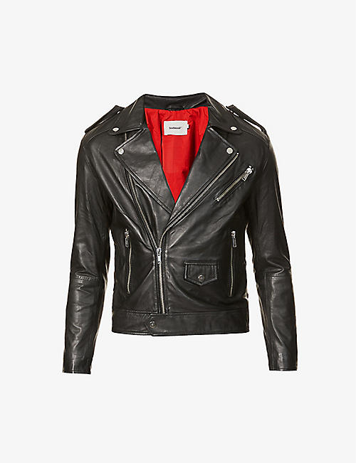 DEADWOOD: Pin-back collar recycled-leather biker jacket
