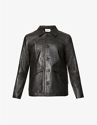 DEADWOOD: Button-up recycled leather jacket