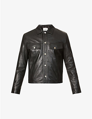 DEADWOOD: Single-breasted recycled-leather jacket