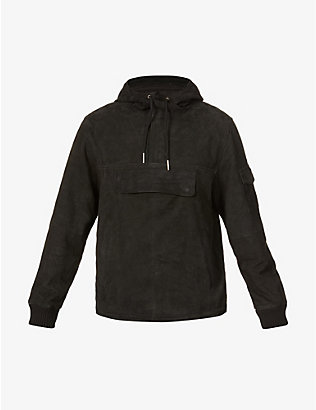 DEADWOOD: Hooded recycled-suede jacket
